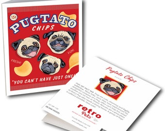"""Pug Art """"Pugtato Chips"""" 6 Small Greeting Cards by Krista Brooks"""