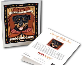 """Rottweiler Art """"Saint of Belly Rub"""" 6 Small Greeting Cards by Krista Brooks"""