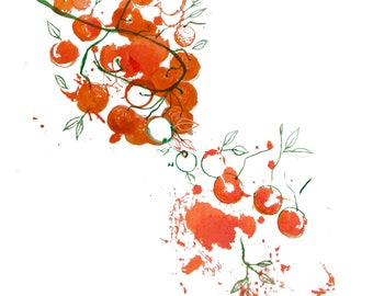 minimalist watercolor print: Oranges