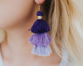 Tri Color Tassel Earrings-Purple