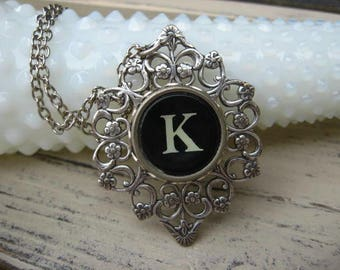 Typewriter Key Jewelry Letter K
