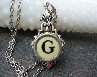 Typewriter Key Jewelry - Typewriter Necklace Letter G