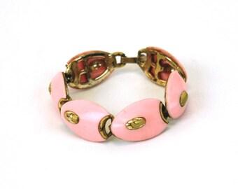 1950s bracelet enamel pink yellow atomic interlocking abstract mid century MCM