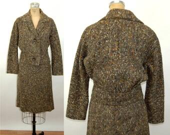 1950s suit tweed wool brown orange gold nubby gathered back jacket Size M