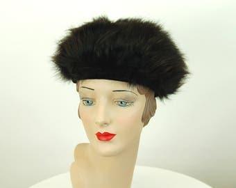 1960s fur hat Dachettes Lilly Dache black fur winter hat tam beret Size 21