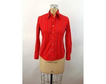 1970s shirt red blue striped cotton button front shirt Xtrovert Size 3M