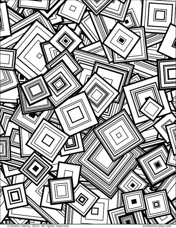 Downloadable Adult Coloring Page Generative Squares Math