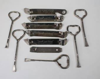 Lot 11 Vintage Bottle Openers, Paint Can Openers, Advertising Barware,  Ace Hardware, Montgomery Wards, Chicago Church Keys, 1960s