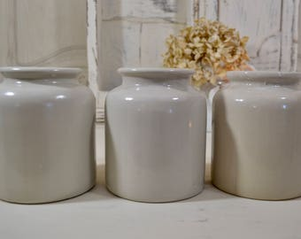 Set of Three French Crock Pots ,Mustard Pots,Pommery Moutarde Pots- French Farmhouse, French Kitchen, French Stoneware