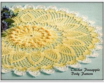 Crochet Doily Pattern - Pineapples - 23 Inches Diameter - PDF CR027277