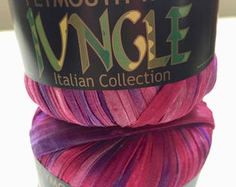 Plymouth Jungle Ribbon Yarn, Brilliant Pink and Purple Yarn