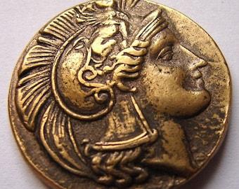 GREEK GODDESS ATHENA Parthenon temple military victory Head of Athena Medallion medal