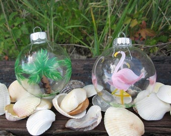Tropical Glass Ornament Box of 6 Hand Painted Palm Tree Pink Flamingo Souvenir Beach Wedding Favor