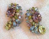 Unsigned Hobe Pastel Rhinestone Earrings Yellow Blue Pink Green Lavender