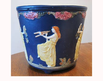 SALE WELLER pottery Blue Ware jardinière with classical figures