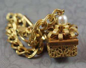 Vintage Miriam Haskell Gold Filigree Pearl Box Charm with Linked Chain Bracelet