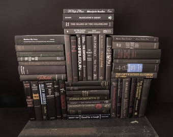 Black Book Wall - Dark Large Book Collection - Instant Library   Books for Decor Vintage - Crafts Repurpose