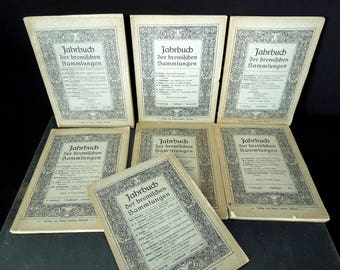 Antique German Language Pamphlets - Yearbook of Bremen Collections - 1908, 1909, 1910 and 1912 Art Work Prints