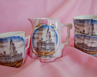 Antique  Milk Jug & cups - Souvenir of Portsmouth