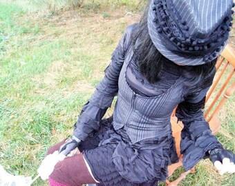 SALE - Steampunk - Vest - Black Pin Strip - Gypsy Goth - Burning Man - Tribal Vest - Gypsy Circus - Bohemian - Gypsy Fashion - Size Large