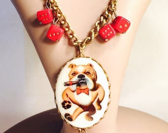 SALE Cleareance SALE Retro Bull Dog Roll the Dice Vintage Necklace