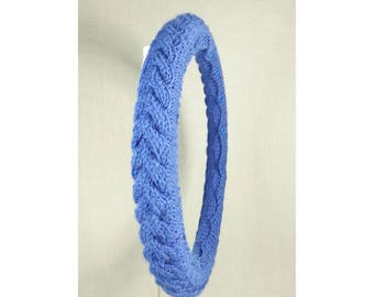 Knit Steering Wheel Cover (Braided Periwinkle) with Safety Rubber Backing, Machine Washable