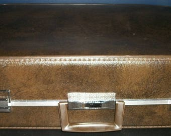 Vintage Towncraft Brown Leatherette Suitcase with Travel Hangers