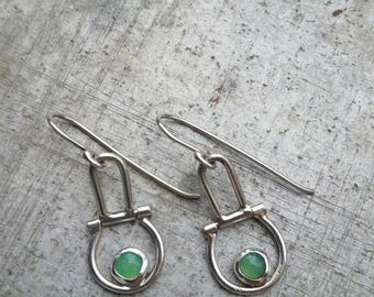 Delicate Hinged Chrysoprase Earrings in Sterling Silver