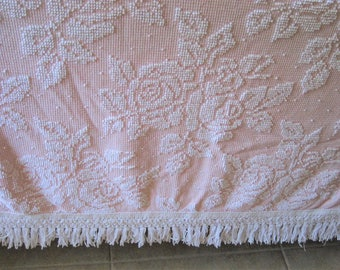 "White on Pink Roses and Pearls Sears Hobnail Vintage Chenille Bedspread 112"" x 84"""