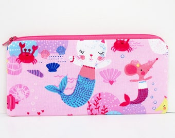 Mercat Pencil Pouch, Long Zippered Bag, Mermaid Cats and Mice on Pink