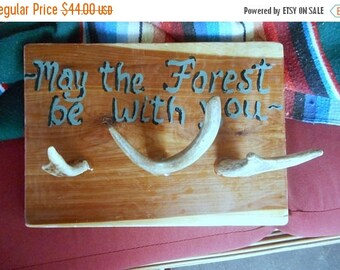 Deer Antler & Cedar Coat Rack. May The Forest Be with You. Log Cabin lodge Home decor. Hand painted coat or Towel rack. woodland Nature