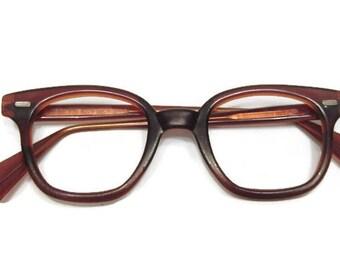 Vintage Mens Reddish Brown Horned Rim Eyeglasses Frames Made In USA