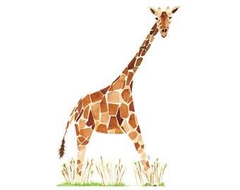 Giraffe, Watercolor Art Print, Nursery Decor, Safari Theme, Baby Shower Gift, Kids Room, Nursery Wall Art, 8x10