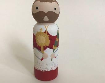 St. Raymond Nonnatus - Wooden Peg Doll
