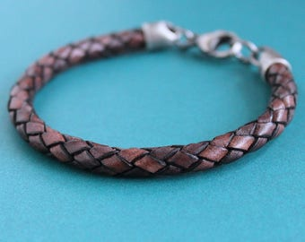 Mens Braided Leather Bracelet,  Brown Leather Cord Bracelet, Sterling Silver Clasp