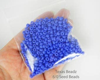 Cobalt Blue Seed Beads E Beads 6/0 Seed Beads Czech Glass Beads 4mm Large Seed Beads