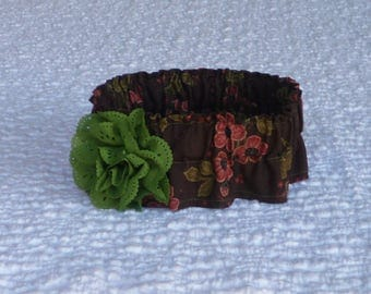 """Dog Ruffle Collar, Rust Flowers on Brown Dog Scrunchie Collar - olive eyelet flower - Size M: 14"""" to 16"""" neck"""