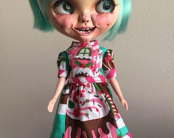 Sweet candy houses holiday christmas kawaii dress for Blythe doll