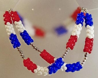 SALE Vintage Long Patriotic Necklace.   Red White Blue Stacked Bead Necklace.  1960s Mod Patriotic Necklace.