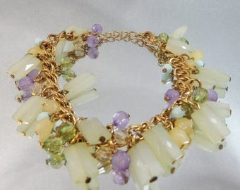 SALE Vintage Charm Bracelet.  Frosted Beads.  Green. Mint. Purple.
