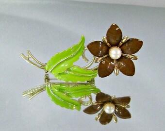 SALE Vintage Flower Brooch.  Genuine Pearl.  Brown and Green