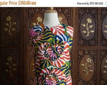 ON SALE 1970s French Patterned Hand Finished Sheath Dress