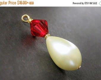 SUMMER SALE Red Crystal and Pearl Pendant. Pearl Charm. Handmade Charm. Phone Charm, Key Chain, Zipper Pull or Purse Charm.