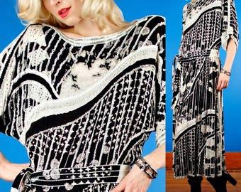 Vintage Sequin & Bead Embellished Silk Flapper Dress