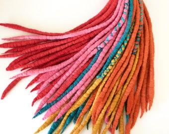Spice Market - Wool Dreadlocks - Set of 64 - with handspun wraps
