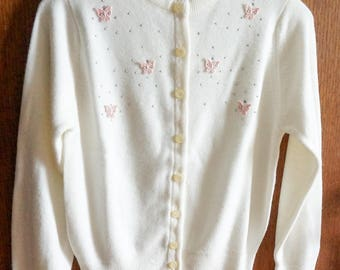 "Vintage 1960s Girls Size 10 Sweater / Blue Bird Soft Cream Orlon Acrylic Cardigan NWT / b30"" L17"" / Beads Rhinestones Butterfly Appliques"