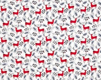 North Pole After Dark Christmas Holiday Fabric Santa's Reindeer