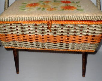 Vintage Embroidered Top Sewing Basket Box with Handle Removable Legs and Insert