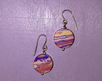 Pair of recycled material earrings.