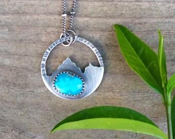mountain dweller necklace - fox turquoise sterling silver necklace - gemstone necklace - turquoise necklace - landscape necklace - nature